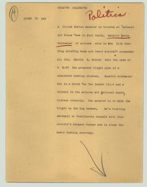 Primary view of object titled '[News Script: Senator Goldwater]'.