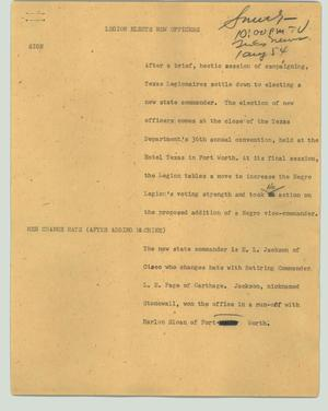 Primary view of object titled '[News Script: Legion elects new officers]'.