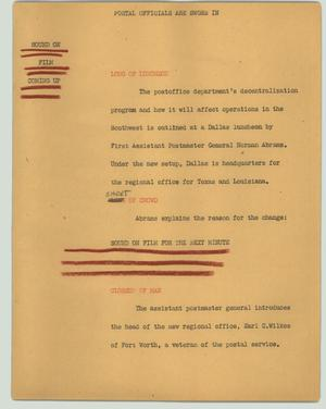 Primary view of object titled '[News Script: Postal officials are sworn in]'.