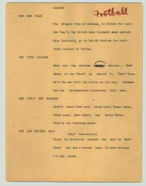 Primary view of object titled '[News Script: Alabama]'.