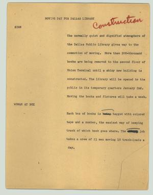 Primary view of object titled '[News Script: Moving day for Dallas library]'.