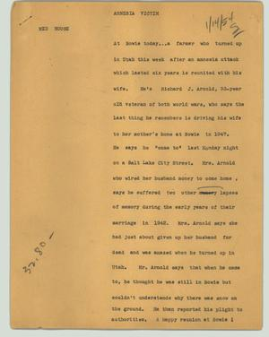 Primary view of object titled '[News Script: Amnesia victim]'.