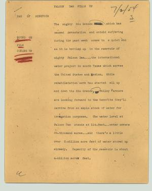 Primary view of object titled '[News Script: Falcon Dam fills up]'.