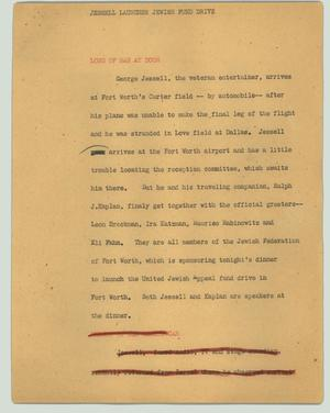 Primary view of object titled '[News Script: Jessell launches Jewish fund drive]'.