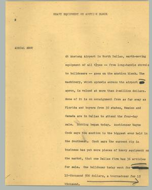 Primary view of object titled '[News Script: Heavy equipment on auction block]'.