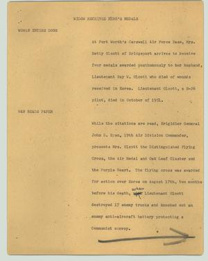 Primary view of object titled '[News Script: Widow receives hero's medals]'.