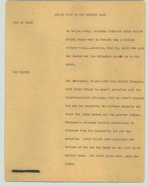 Primary view of object titled '[News Script: Second jury to try robbery case]'.