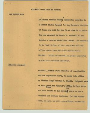 Primary view of object titled '[News Script: McDowell takes oath as Marshall]'.