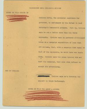 Primary view of object titled '[News Script: Yarborough gets Cyclone's support]'.