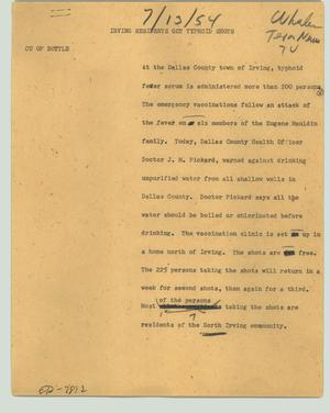 Primary view of object titled '[News Script: Irving residents get typhoid shots]'.