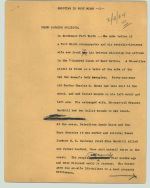 Primary view of object titled '[News Script: Shooting in Fort Worth]'.