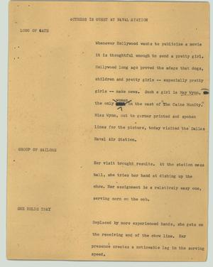 Primary view of object titled '[News Script: Actress is guest at naval station]'.