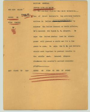 Primary view of object titled '[News Script: British General]'.