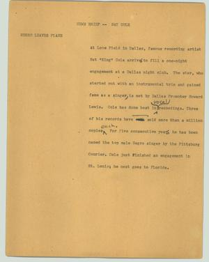 Primary view of object titled '[News Script: News brief - Nat Cole]'.