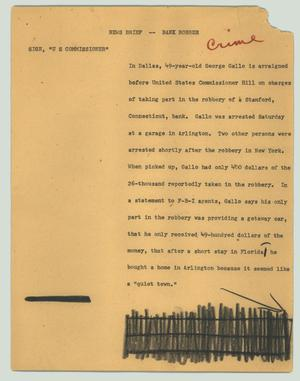 Primary view of object titled '[News Script: News brief - bank robber]'.