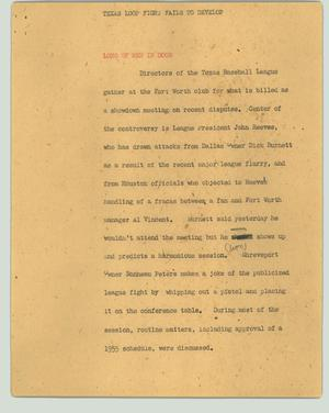 Primary view of object titled '[News Script: Texas loop fight fails to develop]'.