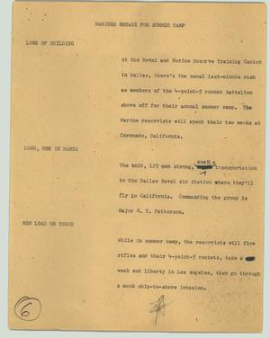 Primary view of object titled '[News Script: Marines embark for summer camp]'.