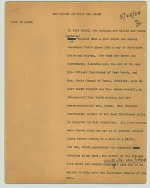 Primary view of object titled '[News Script: Two killed in train car crash]'.