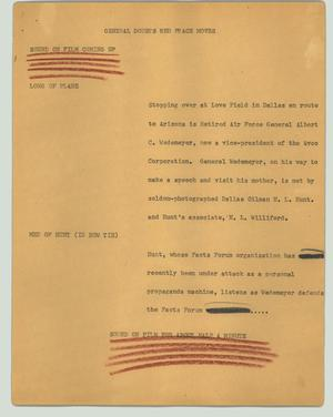 Primary view of object titled '[News Script: General doubts Red peace moves]'.