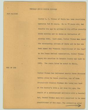 Primary view of object titled '[News Script: Veteran Ennis doctor honored]'.