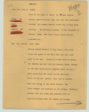 Primary view of object titled '[News Script: Sheriff]'.