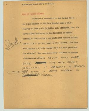 Primary view of object titled '[News Script: Australian envoy stops in Dallas]'.