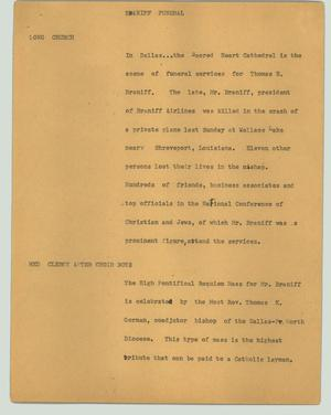Primary view of object titled '[News Script: Braniff funeral]'.