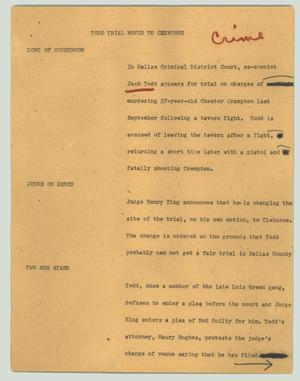 Primary view of object titled '[News Script: Todd trial moved to Cleburne]'.
