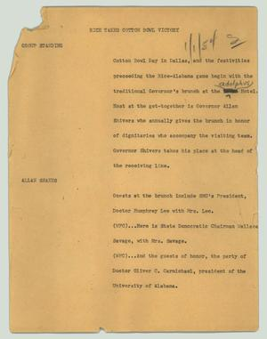 Primary view of object titled '[News Script: Rice takes Cotton Bowl victory]'.
