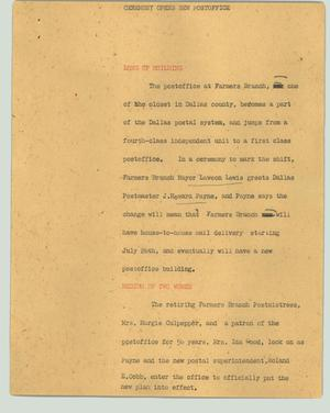 Primary view of object titled '[News Script: Ceremony opens new post office]'.