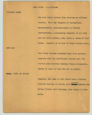 Primary view of object titled '[News Script: News brief - Civitans]'.