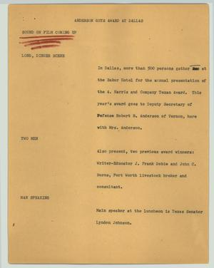 Primary view of object titled '[News Script: Anderson gets award at Dallas]'.