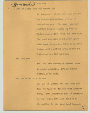 Primary view of object titled '[News Script: Safe door]'.