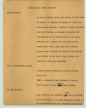 Primary view of object titled '[News Script: Wardlaw trial opens in Dallas]'.