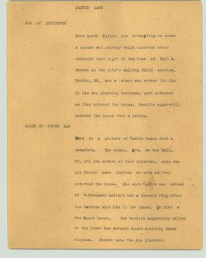 Primary view of object titled '[News Script: Paxton case]'.