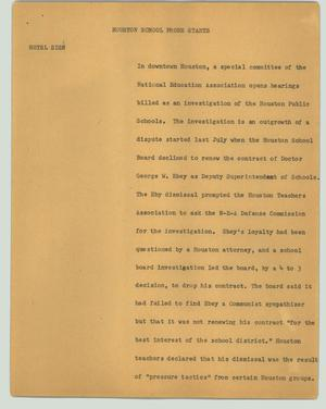 Primary view of object titled '[News Script: Houston school probe starts]'.
