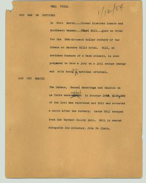 Primary view of object titled '[News Script: Hill trial]'.