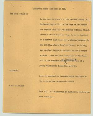 Primary view of object titled '[News Script: Condemned negro baptised in jail]'.