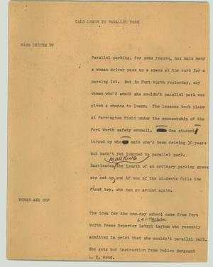 Primary view of object titled '[News Script: Gals learn to parallel park]'.