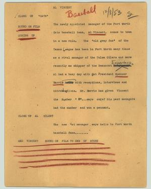 Primary view of object titled '[News Script: Al Vincent]'.