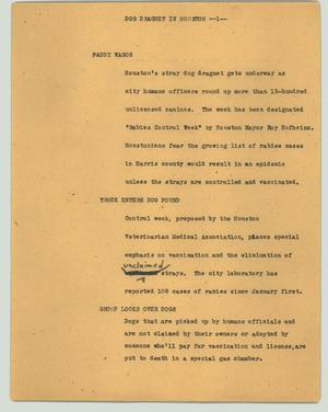 Primary view of object titled '[News Script: Dog dragnet in Houston]'.