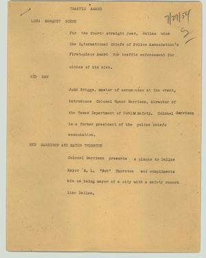 Primary view of object titled '[News Script: Traffic award]'.