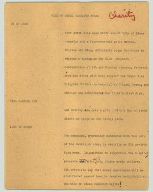 Primary view of object titled '[News Script: Mile of Dimes campaign opens]'.