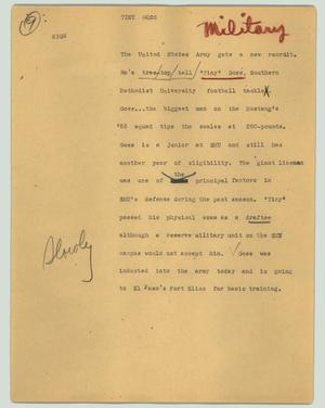 Primary view of object titled '[News Script: Tiny Goos]'.