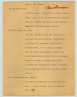 Primary view of object titled '[News Script: Sallies and firemen]'.
