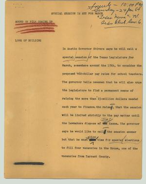 Primary view of object titled '[News Script: Special session is set for March]'.