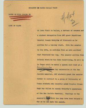Primary view of object titled '[News Script: McCarthy makes Dallas visit]'.