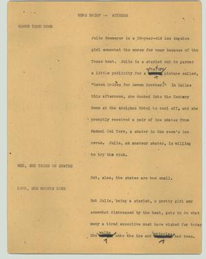 Primary view of object titled '[News Script: Actress]'.