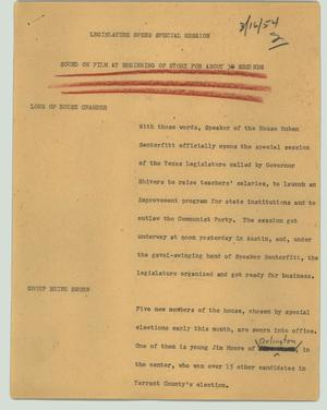 Primary view of object titled '[News Script: Legislature opens special session]'.