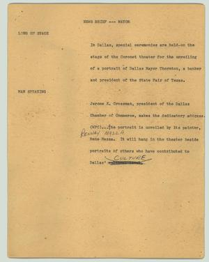 Primary view of object titled '[News Script: News brief - Mayor]'.